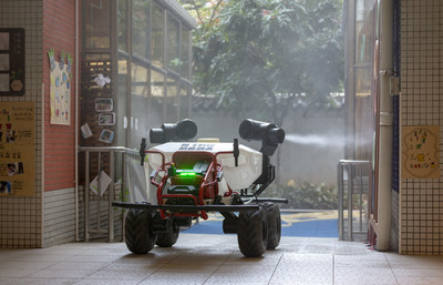XAG's Gound Robot R80 Conducts Disinfectant Spraying