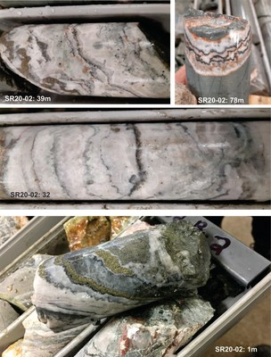 SR20-02: 39m: Colloform-crustiform banded quartz veining with ginguro bands and deformed pyrite on left hand side. SR20-02: 78m: Quartz-adularia vein with dark ginguro bands  SR20-02: 32m: Well banded colloform-crustiform-comb textured quartz with ginguro-like bands and pyrite. SR20-02: 1m: Colloform-crustiform banded quartz with thick pyrite bands ginguro bands and grey silica SR20-05a: Brecciated quartz-adularia vein with ginguro bands and pyrite and other grey minerals SR20-05b: Quartz-adular (CNW Group/Northern Shield Resources Inc.)