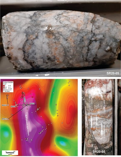 SR20-02: 39m: Colloform-crustiform banded quartz veining with ginguro bands and deformed pyrite on left hand side. SR20-02: 78m: Quartz-adularia vein with dark ginguro bands  SR20-02: 32m: Well banded colloform-crustiform-comb textured quartz with ginguro-like bands and pyrite. SR20-02: 1m: Colloform-crustiform banded quartz with thick pyrite bands ginguro bands and grey silica SR20-05a: Brecciated quartz-adularia vein with ginguro bands and pyrite and other grey minerals SR20-05b: Quartz-adular (CNW Group/Northern Shield Resources Inc.)