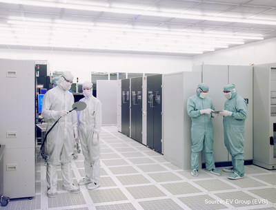 The Heterogeneous Integration Competence Center™ combines EV Group's world-class wafer bonding, thin-wafer handling, and lithography products and expertise, as well as pilot-line production facilities and services at its state-of-the-art cleanroom facilities (such as the one shown here).