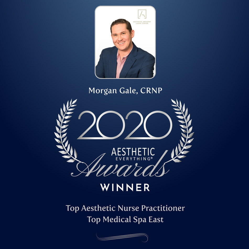 """Morgan Gale, CRNP was voted& """"Top Aesthetic Nurse Practitioner""""& and his practice& Aesthetic& Artistry Laser Center& was voted& """"Top Medical Spa East""""& in the& Aesthetic Everything®& 2020 Aesthetic and Cosmetic Medicine Awards, winning for the second year in a row."""