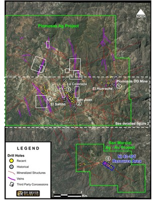 Figure 1 – Landsat Image Plomosas Silver Project – Targets – Known Veins – Mineralized Structures. (CNW Group/GR Silver Mining Ltd.)
