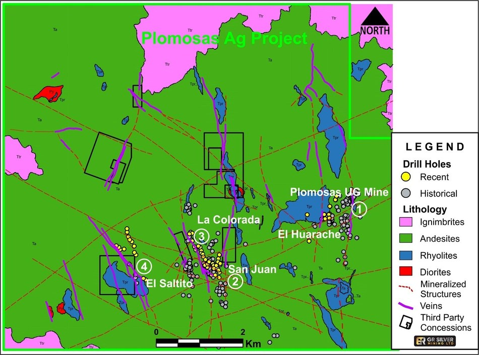 Figure 3 - Geological Map Plomosas Silver Project (CNW Group/GR Silver Mining Ltd.)