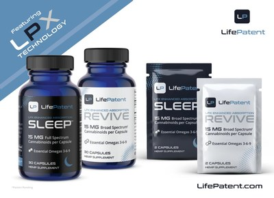LifePatent's innovative LPX Technology delivers unrivaled bioavailability to the hemp-CBD marketplace. LifePatent Revive is a 15mg THC-Free broad-spectrum capsule.  LifePatent Sleep delivers 15mg of full-spectrum whole-hemp cannabinoids and is formulated for those seeking CBD as a sleep aid. LifePatent capsule formulations enable a more convenient, efficient and palatable oral delivery of cannabinoids.