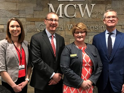 The Medical College of Wisconsin (MCW) has expanded its MCW-Central Wisconsin campus located in Wausau to a larger space. Pictured from left to right are Andrea Allard, vice president of operations for Ascension Medical Group; Matt Heywood, president and CEO of Aspirus; Dr. Lisa Dodson, Sentry Dean and Founding Dean of MCW-Central Wisconsin; Dr. John R. Raymond, Sr., president and CEO of MCW.