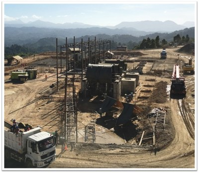 Construction of the Grinding Plant, including installation of the SAG mill and ball mills, and construction of the flotation cells with steel trusses and a newly fabricated conditioning tank. (CNW Group/TVI Pacific Inc.)