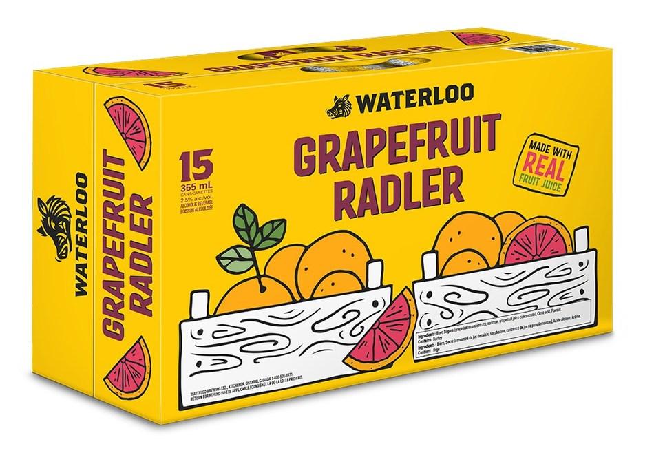 New Waterloo Grapefruit Radler 15 can pack (CNW Group/Waterloo Brewing Ltd.)