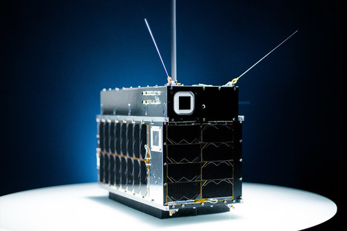 Full-size model of one of the Pathfinder satellites launched by HawkEye 360 in December 2018 to geolocate radio frequency signals. The Smithsonian has chosen the satellite for future exhibition in the National Air and Space Museum as representing the advances of small satellites and the introduction of space-based, commercial RF signals data.