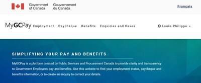 MyGCPay is a first-of-its-kind pay-related Web application that provides federal government employees with a centralized and simplified view of their pay and benefits information. (CNW Group/Public Services and Procurement Canada)