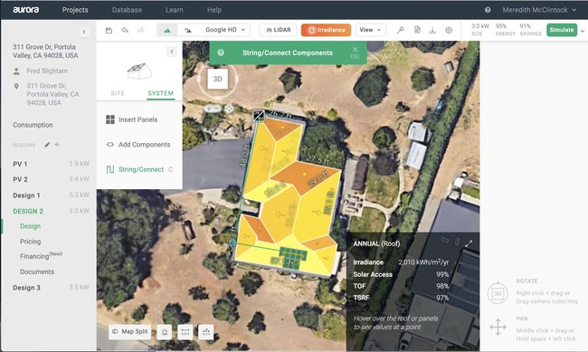 Aurora can generate an irradiance map showing the solar irradiance at every point on the roof of your site model