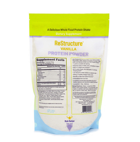 Restructure Protein Powder Package with Lactose listed as one of the ingredients.