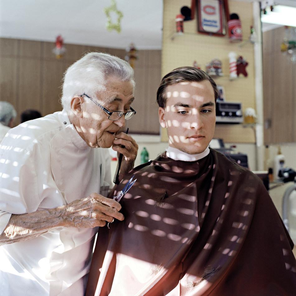 Garnet Dirkson, John the barber, Crowsnest Pass, A.B., 2017, Chromogenic Print, 81cm x 81 cm (CNW Group/Scotiabank)