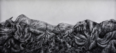 Rachel Rozanski, Umingmaktok, 2018, Charcoal on paper,  4 x 8 feet (CNW Group/Scotiabank)