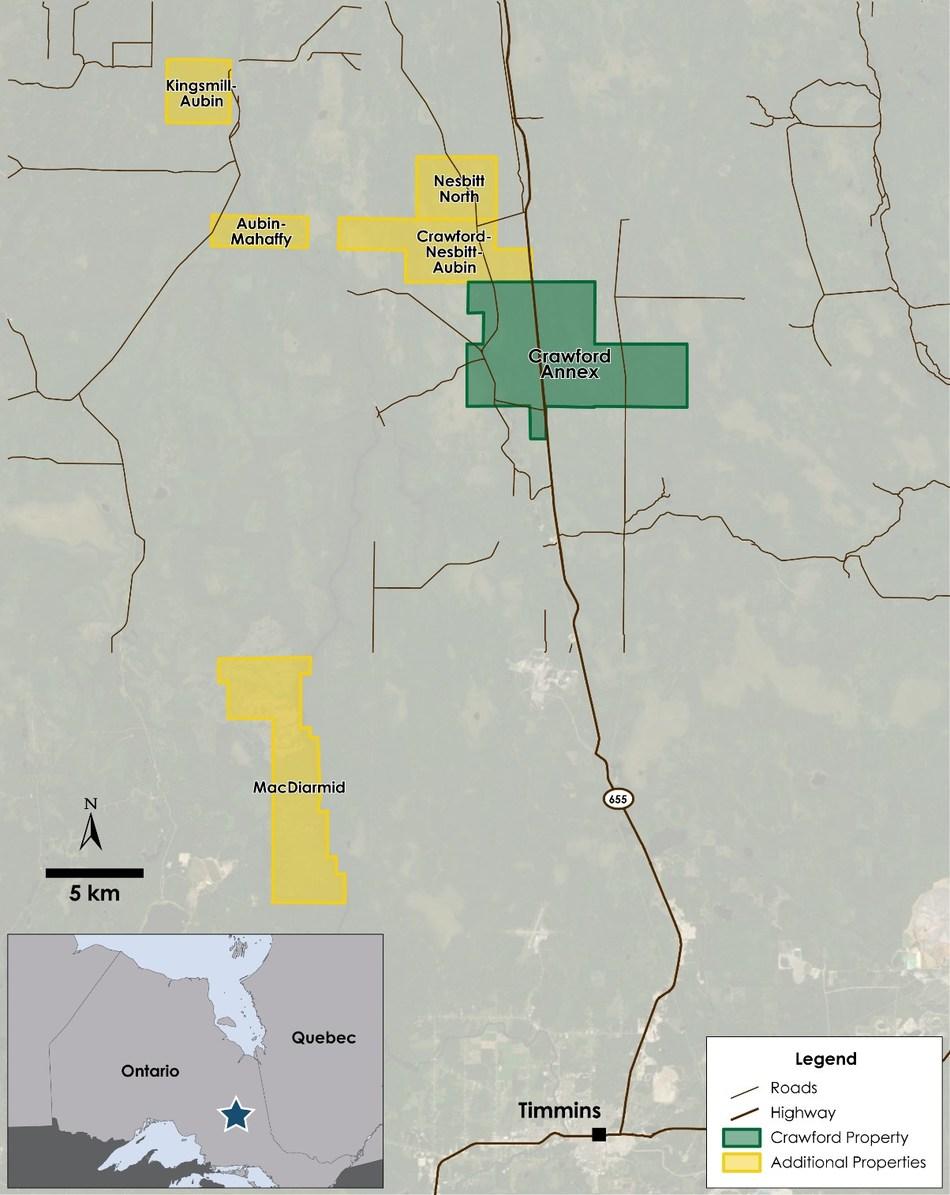Figure 1 – Location of Option Properties (CNW Group/Canada Nickel Company Inc.)