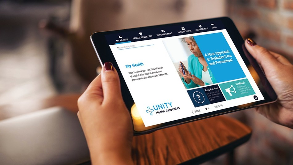 PatientPoint® Interact—Hospital™ personalized bedside engagement hub, one of three PatientPoint digital products launching for HIMSS20.