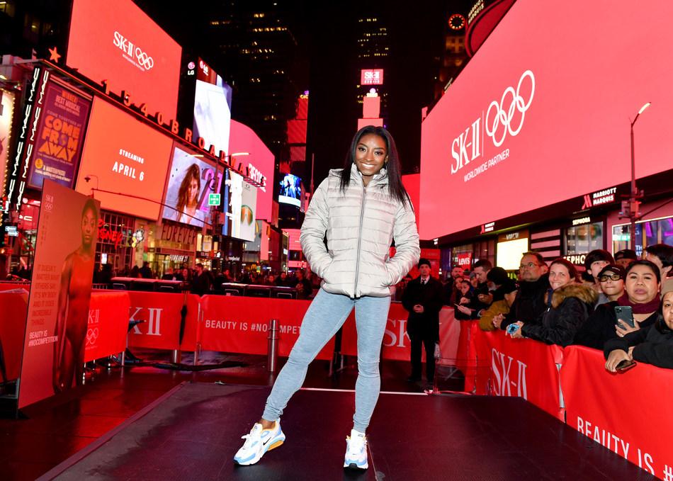 "SK-II and Simone Biles Take Over Times Square To Announce ""VS"" Series Launch For Beauty Is #NOCOMPETITION"