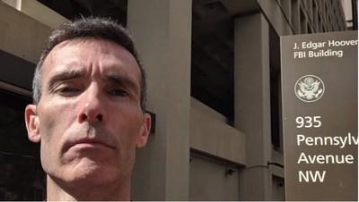 David Howe outside of FBI headquarters, Washington, D.C.
