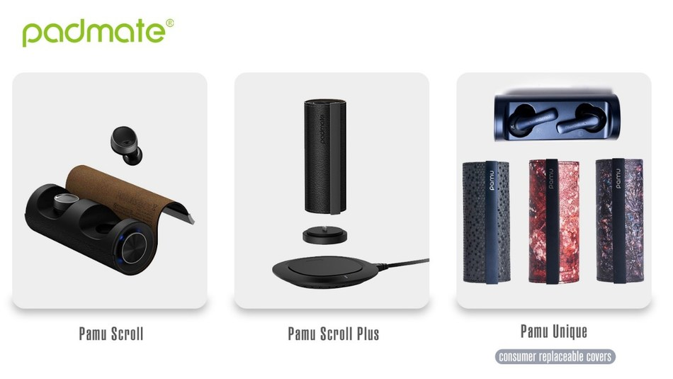 Multiple scroll-type Padmate earphones-latest featured with consumer replaceable covers upcoming soon