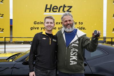 Phillip Abma drove away in a 2020 Hertz-Hendrick Motorsports Camaro SS, celebrating alongside No. 24 William Byron.