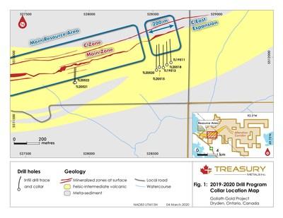Figure 1: Plan View, Drill Program Collar Location Map. (CNW Group/Treasury Metals Inc.)