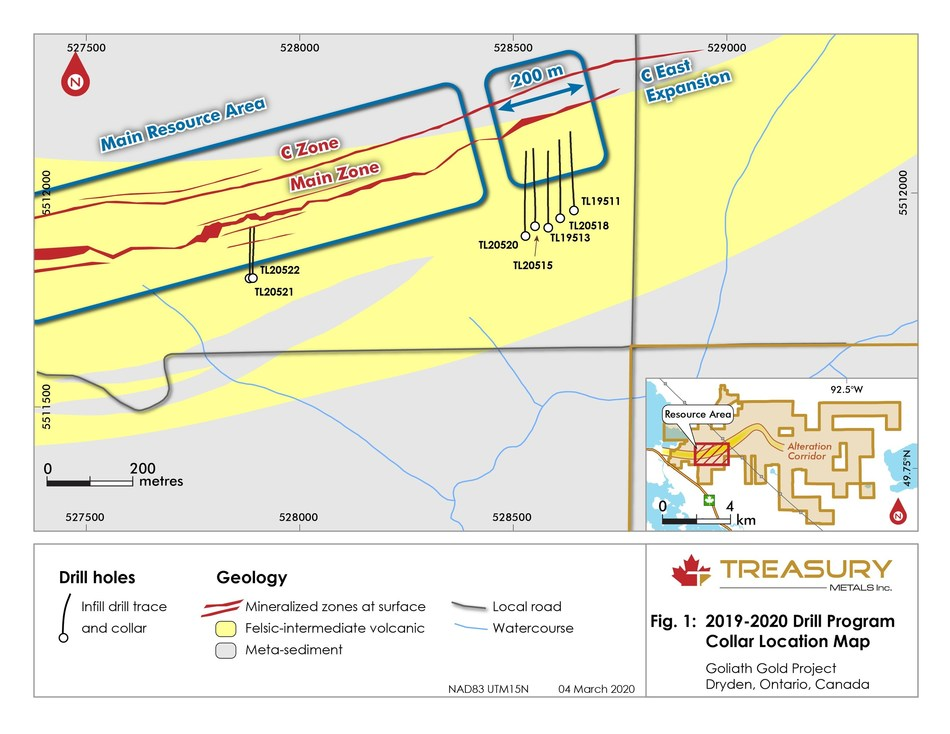 Figure 1: Plan View, Drill Program Collar Location Map. (CNW Group/Treasury Metals Inc.)