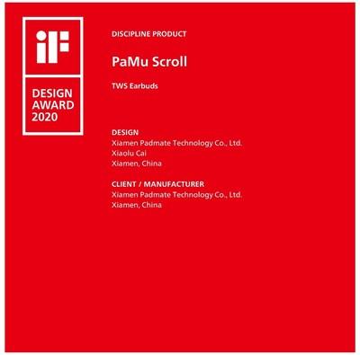Los auriculares PaMu Scroll llegaron al tope del diseño de IF con su exclusivo aspecto en forma de rollo (PRNewsfoto/Padmate)