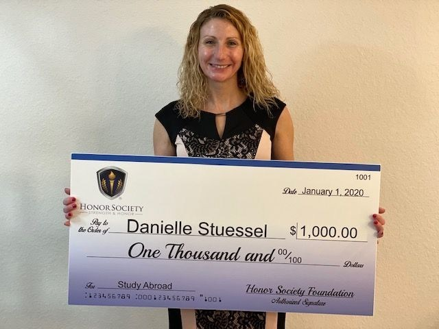 Ms. Stuessel is a proud recipient of the Study Abroad Scholarship.