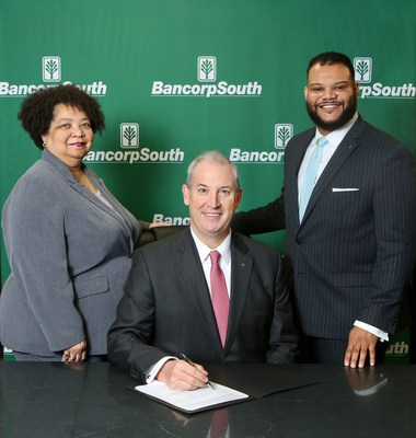 BancorpSouth joins the coalition to advance diversity and inclusion in its workplace. BancorpSouth's executives pictured from left to right are Charlotte Pratt, director of talent acquisition and diversity; Dan Rollins, chairman and CEO; and Robert Harris, director of diversity and inclusion and director of community lending.