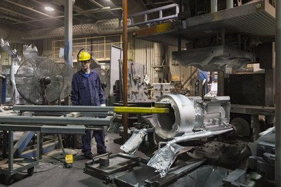 Refrigeration compressor main housing being manufactured by CIF Metal at its plant in Thetford Mines, Québec. (CNW Group/CIF Métal)
