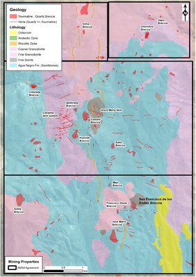 Figure 2: Geological map of the San Francisco Project. Mapping has identified a dozen high priority breccia pipes that returned anomalous rock chip gold results. (CNW Group/Turmalina Metals Corp.)