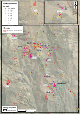 Figure 3: Rock chip gold results from the project area. The highest rock chip gold assays in the project area were returned from the Humilde breccia pipe, located approximately 3 km northwest of the San Francisco de Los Andes (SFdLA) breccia pipe. (CNW Group/Turmalina Metals Corp.)