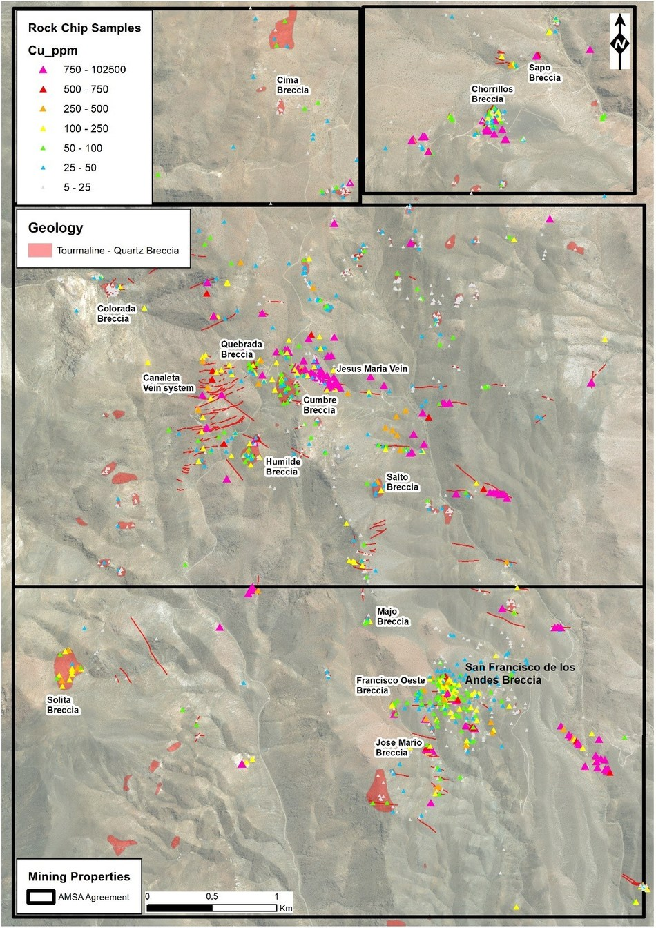 Figure 4: Rock chip copper results from the project area. Deep weathering results in lower copper grades in surface samples relative to the primary sulphide zones at depth, but the surface grades still allow for the detection and prioritization of mineralised breccias. (CNW Group/Turmalina Metals Corp.)