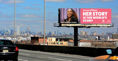 Tennis great Serena Williams will be honored on 1,400 digital billboards across the country.