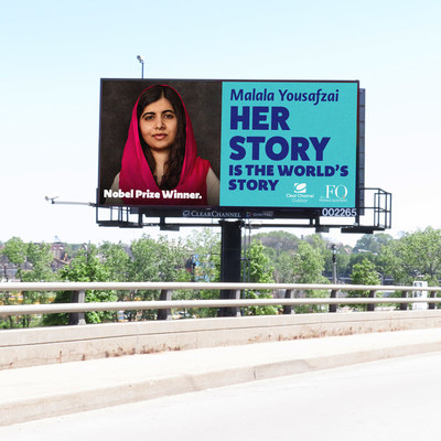Youngest Nobel Prize winner Malala Yousafzai will be honored on digital billboards nationwide for International Women's Day.