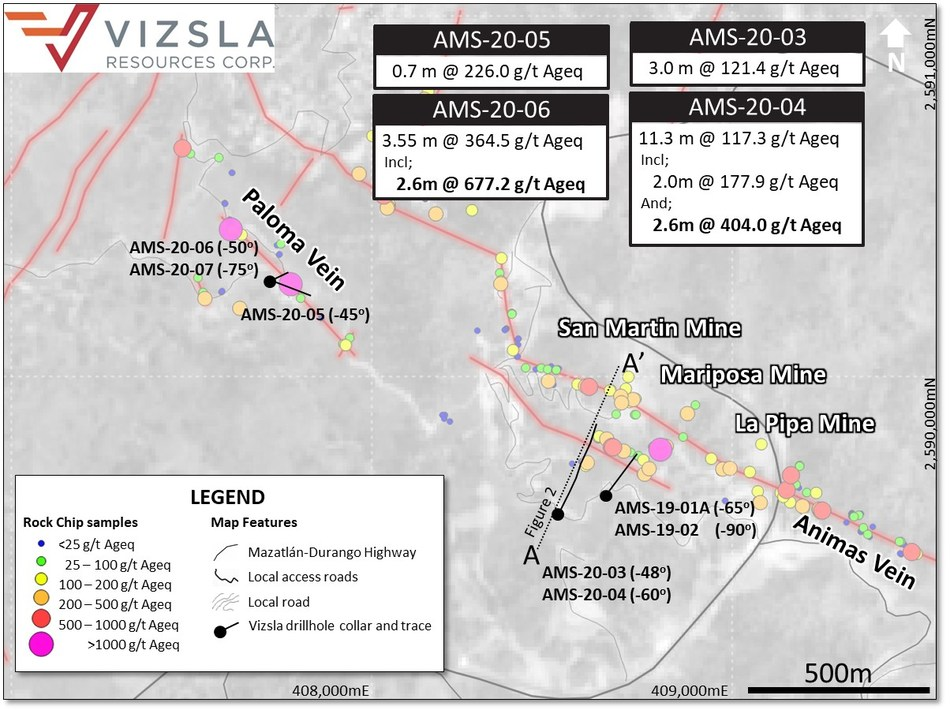 Figure 1: Plan map of drilling completed at the Panuco project (CNW Group/Vizsla Resources Corp.)
