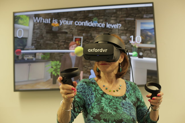 Oxford VR's social engagement program - lady in virtual world