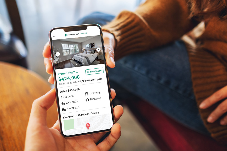 Properly launches ProperPrice™, a home price predictor tool that allows Calgarians to pinpoint the value of homes with 99 per cent accuracy. (CNW Group/Properly)