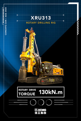 XCMG XRU313, the 36-ton Rotary Drilling Rig Is Brought to CONEXPO-CON/AGG 2020.