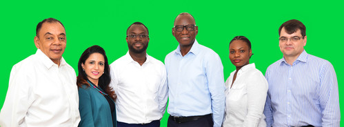 L-R, Nathan Smith - Director, Maintenance & Engineering, Jasmine Dhillon - Director, Cabin Services, Captain Folu Oladipo - Chief Pilot, Captain Sunday Arome - Director, Training & Standards, Princesse Likayi - Director, People and Culture and Neil Mills - President and Chief Operating Officer.