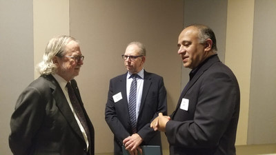 Amir Jafri and Dr. Robert Segal with Dr. James Allison. From left to right: James Allison, Robert Segal, Amir Jafri