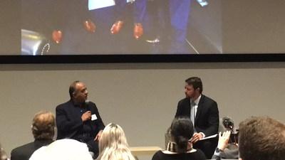 Amir Jafri with U.S. Rep. Dan Crenshaw during fireside chat