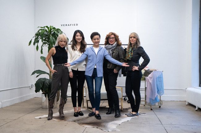 (Left) Vera Wang, founder of WG Empire, Annie Xiao, Brand Manager at Grapevine, Lan Yang - Founder of Her Village, International Media Mogul & Entrepreneur, Kristen Standish, CEO of Grapevine, and Charity Richins COO Grapevine (Right)