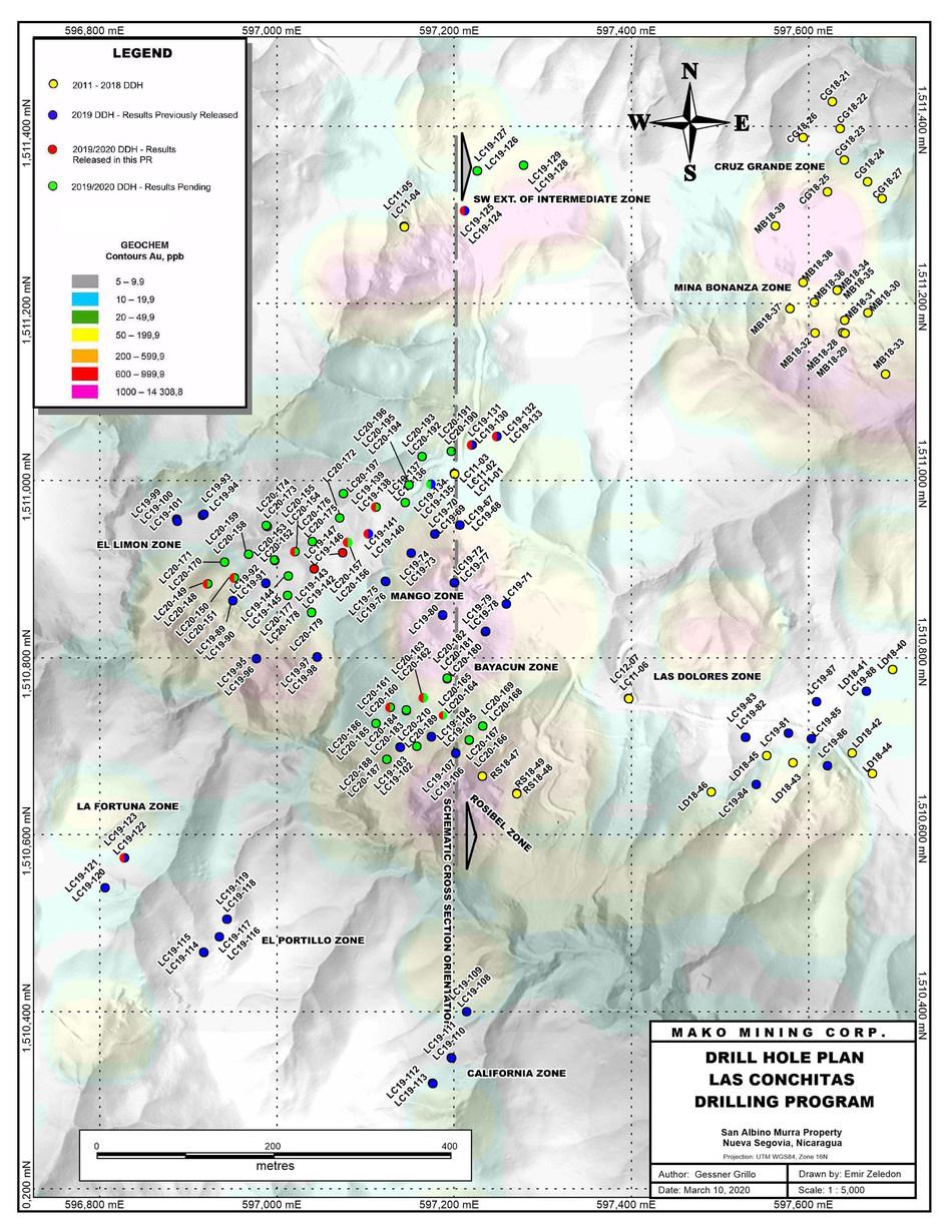 Drill Hole Plan (CNW Group/Mako Mining Corp.)
