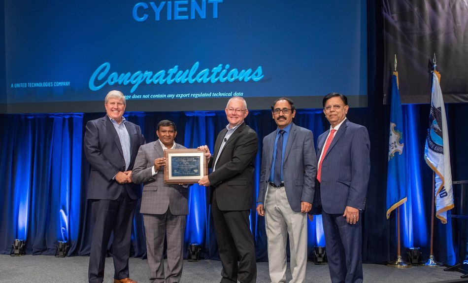 Cyient officials receiving the award from Pratt and Whitney team