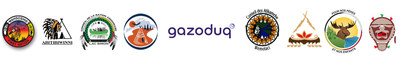 Logos : Gazoduc, la Première Nation Wahgoshig, la Première Nation Abitibiwinni, la Première Nation Anishnabe du Lac Simon, les Atikamekw d'Opitciwan, les Atikamekw de Wemotaci, la Première Nation des Pekuakamiulnuatsh, les Innus Essipit et les Innus de Pessamit (les « Premières Nations ») (Groupe CNW/Gazoduq inc)