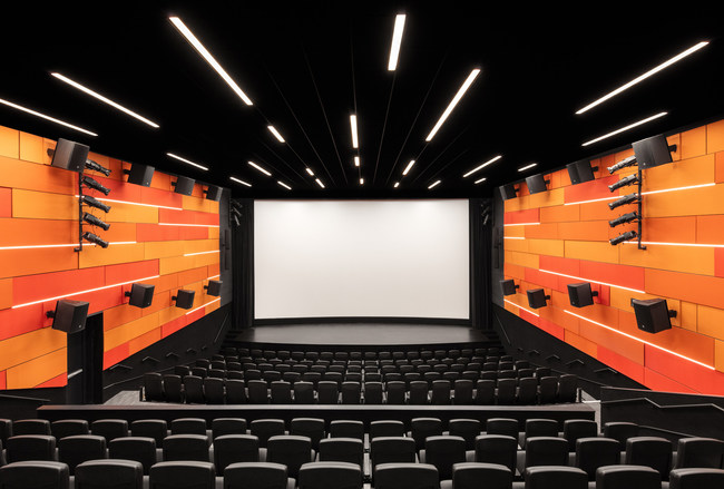 MYCON partnered with Cinemark Theatres to build the new Cinemark theatre auditorium in the Dallas Holocaust and Human Rights Museum. The 4,100 SF theatre features a 45.6-foot screen with an enhanced sound system, 250 seats on stadium risers, and a lecture stage with AV systems.