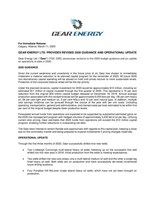 GEAR ENERGY LTD. PROVIDES REVISED 2020 GUIDANCE AND OPERATIONAL UPDATE (CNW Group/Gear Energy Ltd.)