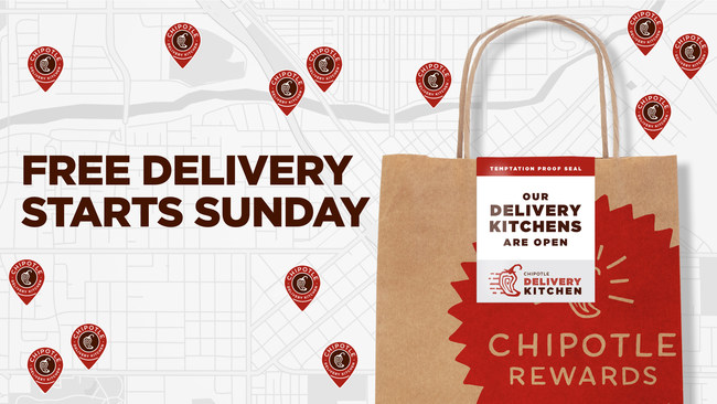 Chipotle offers free delivery from 3/15 - 4/2.