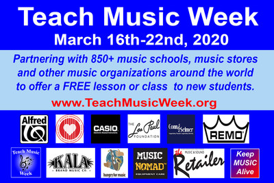 Teach Music Week is supported the following music brands and organizations: Alfred Music, D'Addario Foundation, Casio EMI, The Les Paul Foundation, Conn-Selmer, REMO, Kala Brand Music, Hungry For Music and Music Nomad Equipment Care