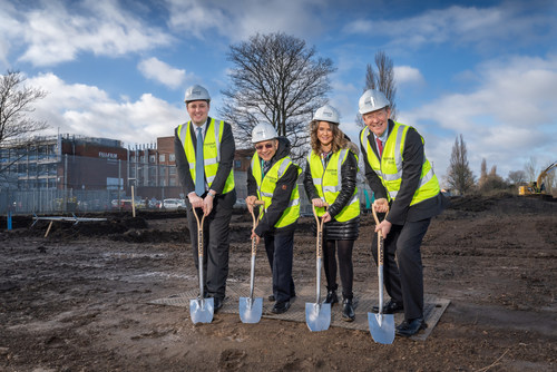 From left to right: Ben Houchen, Tees Valley Mayor, Subhash Chaudhary, Director of Strategic Investments, FDB, UK site, Annalee Bryson, Purchasing Officer, FDB, UK site, Steve Bagshaw, CEO, FDB
